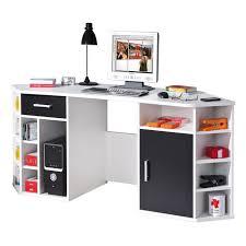 bureau avec rangement bureau d angle avec rangement coloris noir et blanc achat
