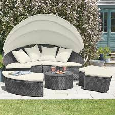 rattan daybed garden furniture outdoor patio lounger sofa table