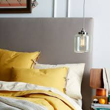 tall simple upholstered headboard west elm