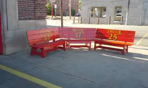 pitts brighly painted bench invites people to the firehouse