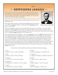 gettysburg address context clues worksheets for high