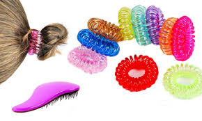 hair ties and colorful coil hair ties and detangling brush set 41