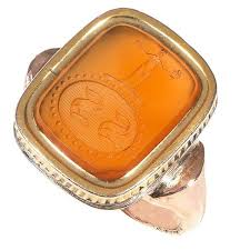 Monogram Signet Rings Antique Carnelian Intaglio Monogram Signet Ring 1860 England