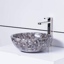 natural stone mosaic luxury vessel sink