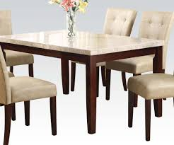 17058 britney dining table white marble top walnut finish slick