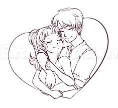 simple drawings of loving huggings how to draw a hugging couple