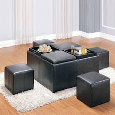 living room table with storage stools leather coffee ottoman