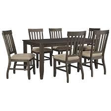 dresbar dining room table dresbar 7 piece dining set in grayish brown nebraska furniture mart