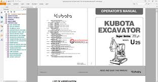 kubota excavator u25 super series tier t4 operators manual