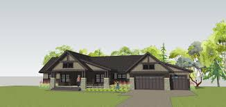 simply elegant home designs blog new twist on a craftsman home plan front image with attached three car garage