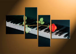Canvas Prints Home Decor by 4 Piece Black Canvas Rose Piano Music Artwork