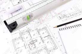 blueprints for new homes architectural blueprints of new homes spirit level and notepad
