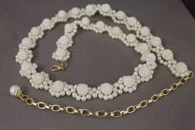 pearl beaded bracelet images Cream bridal beads pearl multi flowers thin skinny belt gold jpg