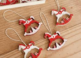 pack of 12 rocking tree decorations white