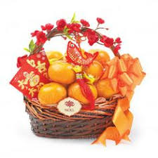 new years basket lunar new year gift sweet gift of oranges a symbol of gold or