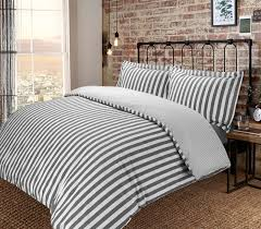 vertical stripe woven 100 cotton t200 reversible duvet cover