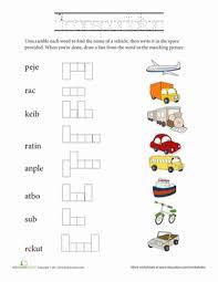 unscramble words transportation worksheet education com
