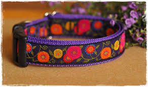 dog ribbon flowers on violet ribbon dog collar med to large dogs 22 00