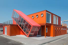 angled shipping container houses a scissor staircase dzine trip