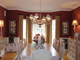 Dining Room Curtain Ideas by Red Wall Gold Ceiling Dining Room Ideas Also Walls In Pictures