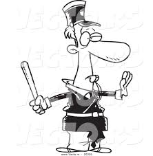 vector of a cartoon officer gesturing to stop and whistling