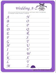 wedding words for bingo wedding a z printable for bridal shower
