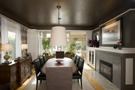 makeover dining room ideas homesfeed lamp chairs table rug cabinet curtains fireplace