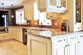 interior of modern luxury kitchen with granite countertop stock