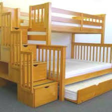 Arched Mission Triple Lindy Bunk Bed With Red Mahogany Stain Kid - Triple lindy bunk beds