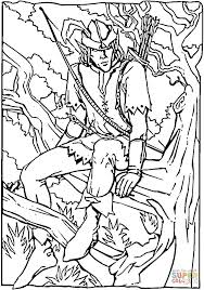 robin hood sitting on a tree branch coloring page free printable
