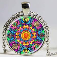 art glass necklace pendant images Handmade kaleidoscope buddhism mandala necklace art glass dome jpg