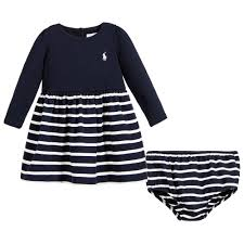 ralph lauren baby girls navy blue u0026 white stripe dress