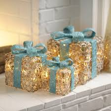 pre lit christmas gift boxes pre lit iced turquoise gift boxes set of 3 goodies christmas