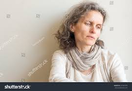 looking with grey hair middle aged woman grey hair cream stock photo 471487076 shutterstock