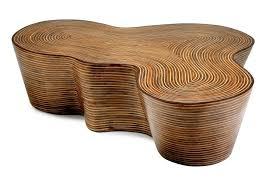 Rattan Coffee Table Organic Striped Wood Coffee Table Mecox Gardens