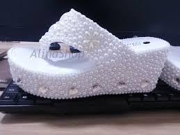 wedding flip flops wedding sandals white pearl bridal flip flop shoes wedge wedding