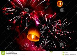 fireworks lantern sky lantern and firecrackers or fireworks stock photo image