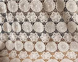 Lace Fabric For Curtains Cotton Fabric Off White Flower Lace Fabric Retro Crochet Cotton