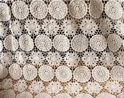 Crochet Lace Curtain Pattern Cotton Fabric Off White Flower Lace Fabric Retro Crochet Cotton