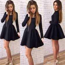 black short party dresses cheap jewel a line satin long sleeves