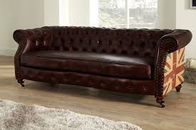 Chesterfield Sofa Ebay by Chesterfield Flag 3 Seater Leather Sofa Brown Ebay