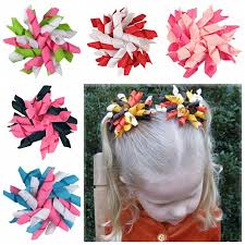 children s hair accessories children s curlers curly ribbon hair bows clip flowers 3 5 corker