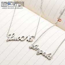 name necklace silver jewelry images Blue sweet couple necklaces personalized custom diy name necklace jpg