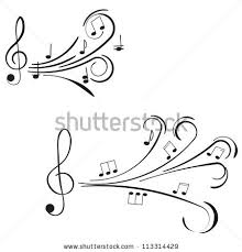 musical notes ornament swirls on white stock vector 113314429