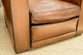 Leather Club Chair Pair Of Vintage French Leather Club Chairs On The Highboy