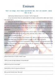 english teaching worksheets eminem