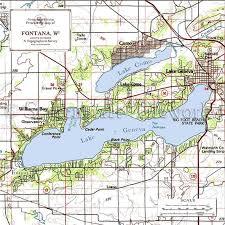 map of lake geneva wi fontana lake geneva nautical chart decor