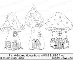 toadstool house bundle png digital download fairy clipart