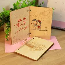 2015 beautiful wood greeting cards with envelope birthday wishes