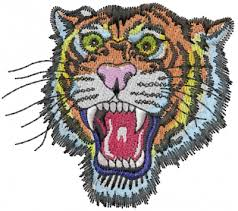 animals embroidery design roaring tiger from machine